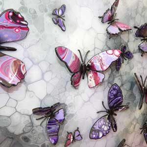 lilac and purple painted butterflies