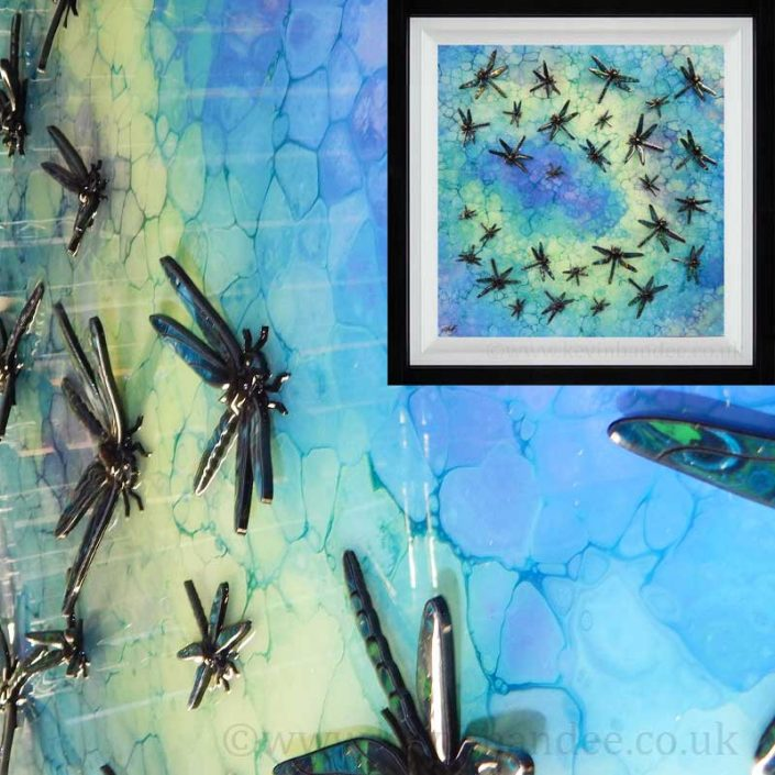 lime turquoise dragonfly 3d art framed gallery