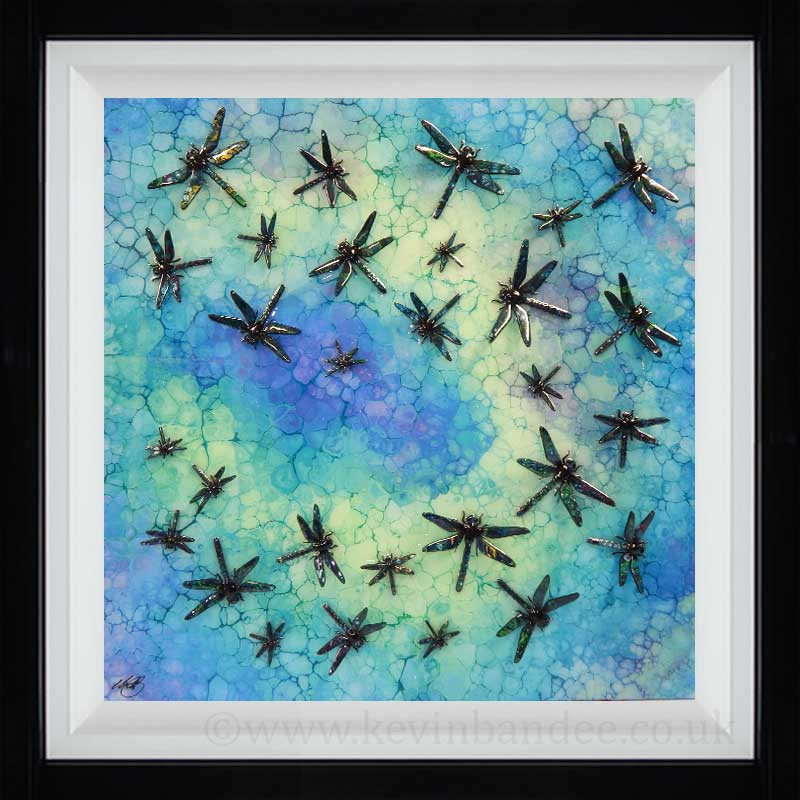 lime turquoise dragonfly art