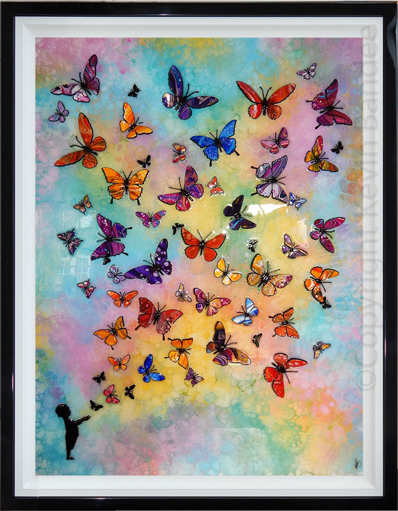 multi colour butterfly wave with child