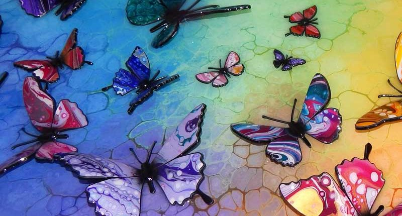 multi coloured butterflies fluttering