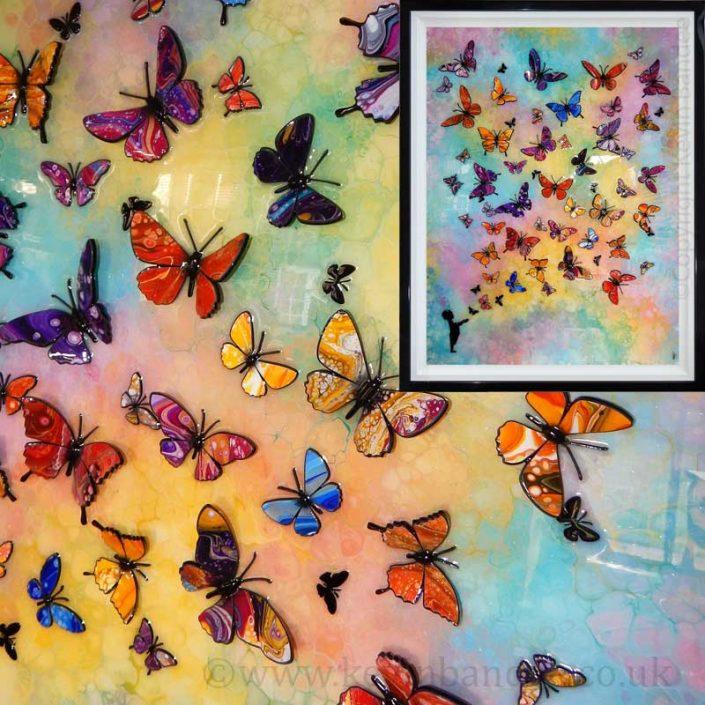 multi coloured butterfly art framed