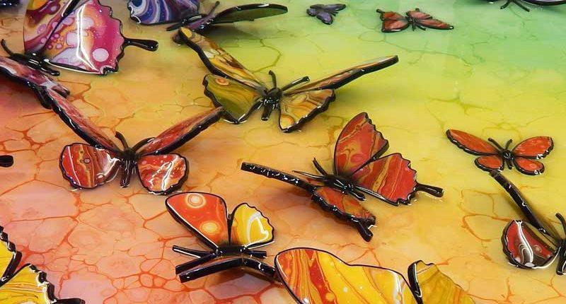 multi coloured rainbow coloured butterfly art