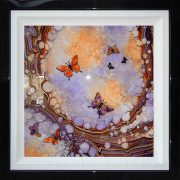 orange purple 3d butterfly art framed