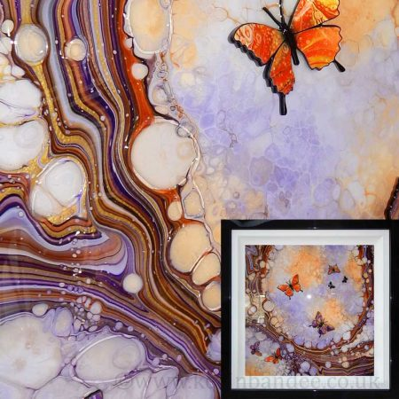 orange purple 3d butterfly art framed gallery