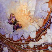 orange purple 3d butterfly detail