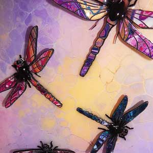 painted dragonfly example pink turquoise