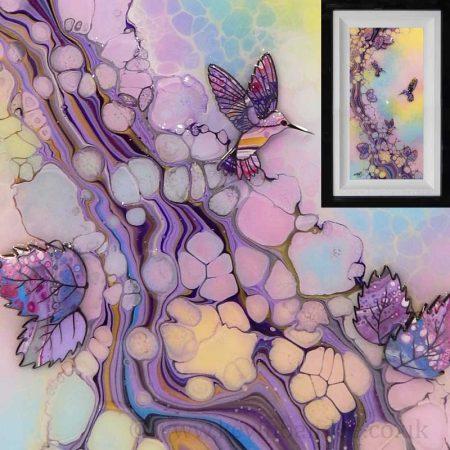 pastel 3d hummingbird art framed
