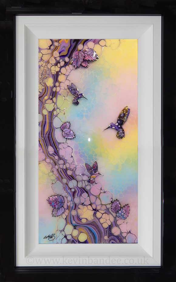 pastel coloured hummingbird art