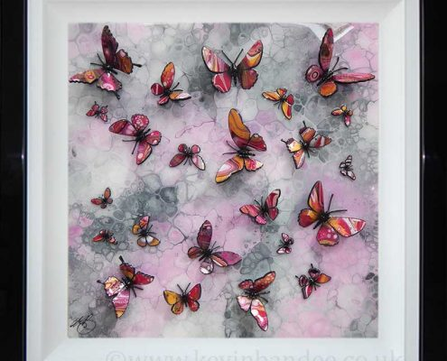 pink gold butterflies on pink stone background