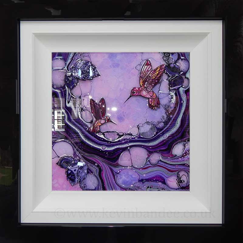 pink hummingbirds on purple wave 3d art