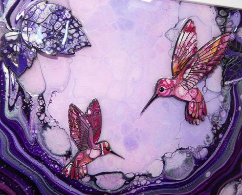 pink hummingbirds on small purple 3d art