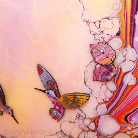 pink yellow 3d hummngbird art