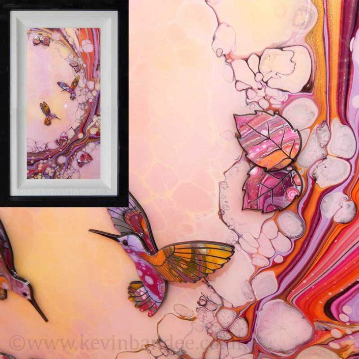 pink yellow 3d hummngbird framed art gallery