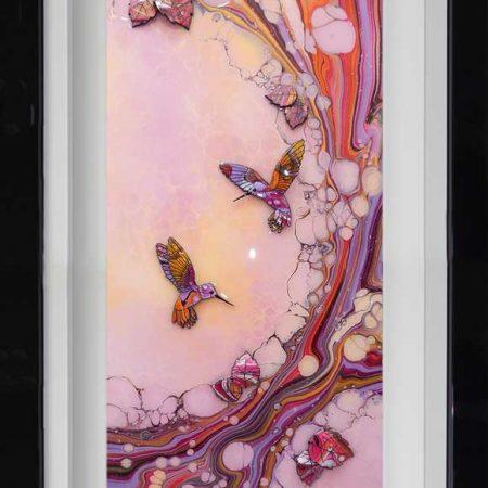 pink yellow hummingbird leaves art