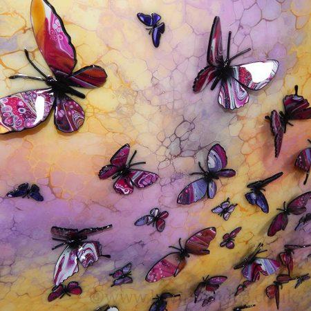 pink yellow purple multi 3d butterfly piece