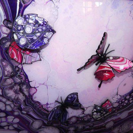 puple pink butterfly small art