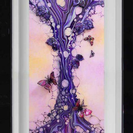 purple silver pink butterfly art