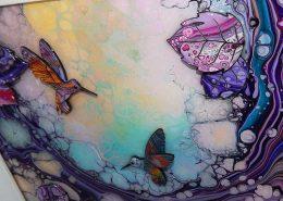 purple small hummingbird 3d art
