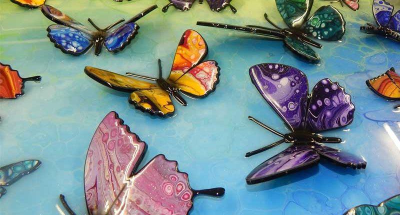 rainbow coloured butterfly art