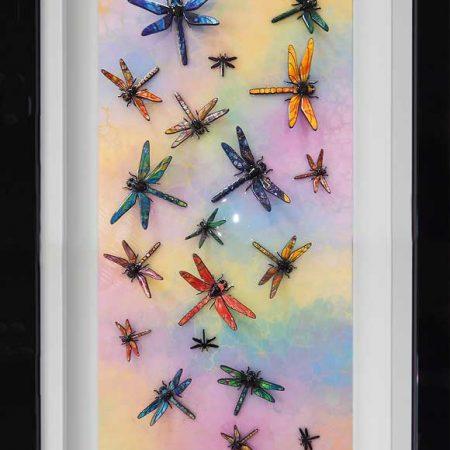 rainbow coloured dragonfly art framed