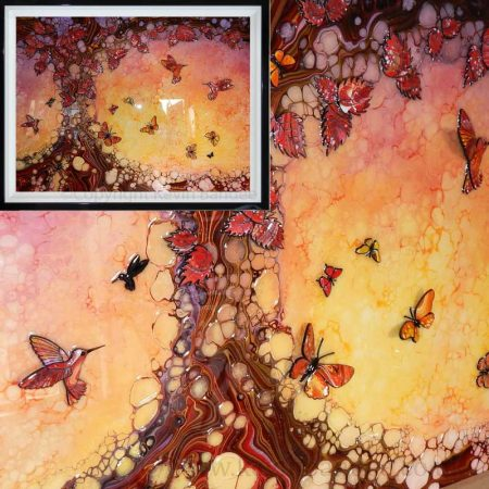 red brown tree with hummingbirds framed