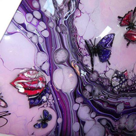 reflection on 3d purple butterfly art