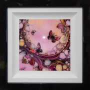 rose pink butterfly art framed