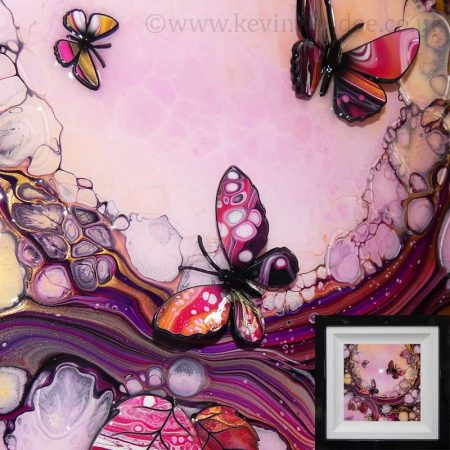 rose pink butterfly art framed gallery