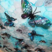 turquoise 3d butterfly art