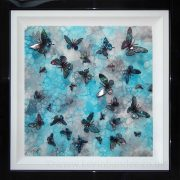 turquoise multi butterfly art framed