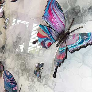 turquoise pink silver butterfly painted