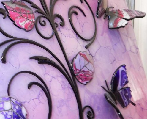 side view of 3d butterfly lilac art