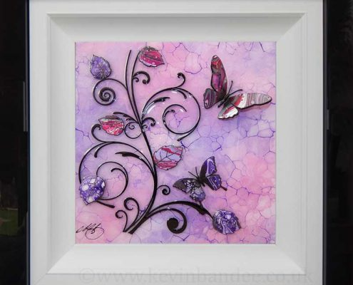 two lilac purple butterflies with vines art