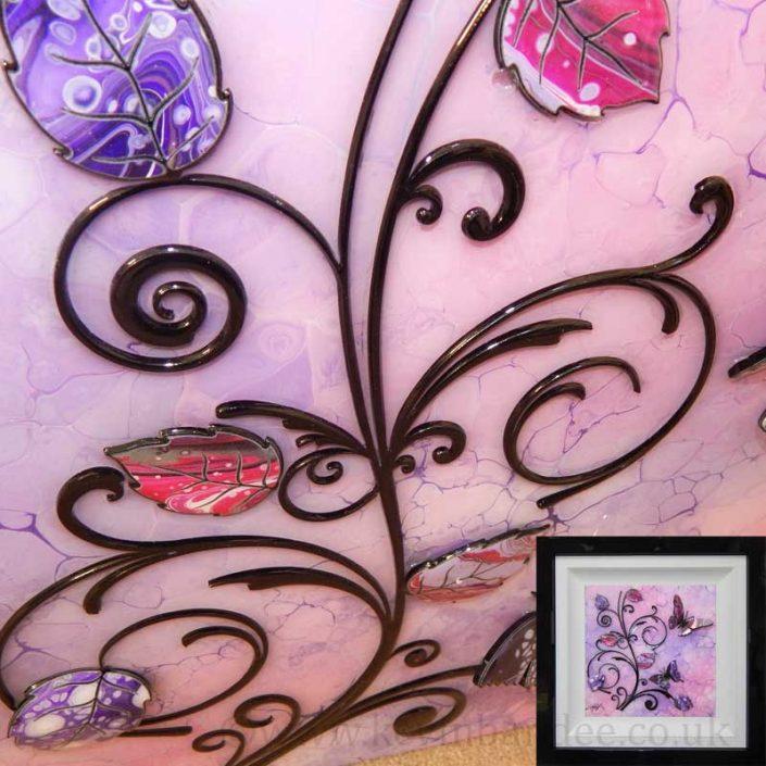 3d vines on butterfly lilac purple art