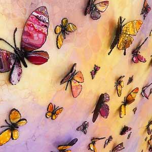 yellow pink butterflies