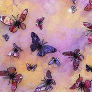 yellow pink purple 3d butterfly