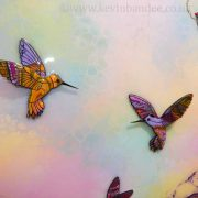 yellow purple hummingbirds