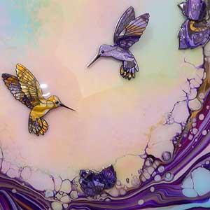 yellow purple painted hummingbirds example 1