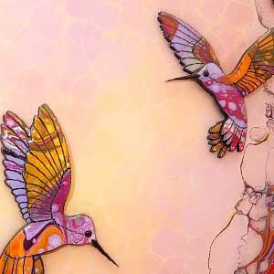 yellow purple painted hummingbirds example