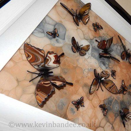brown stone multi butterfly art