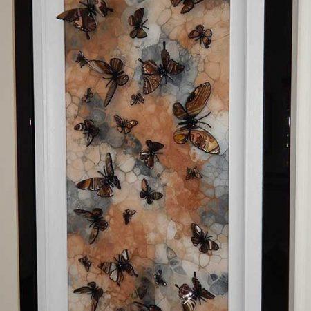 brown stone multi butterfly art side view