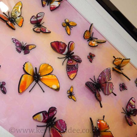 close up view pink yellow 3d butterflies 2