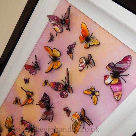 close up view pink yellow 3d butterflies