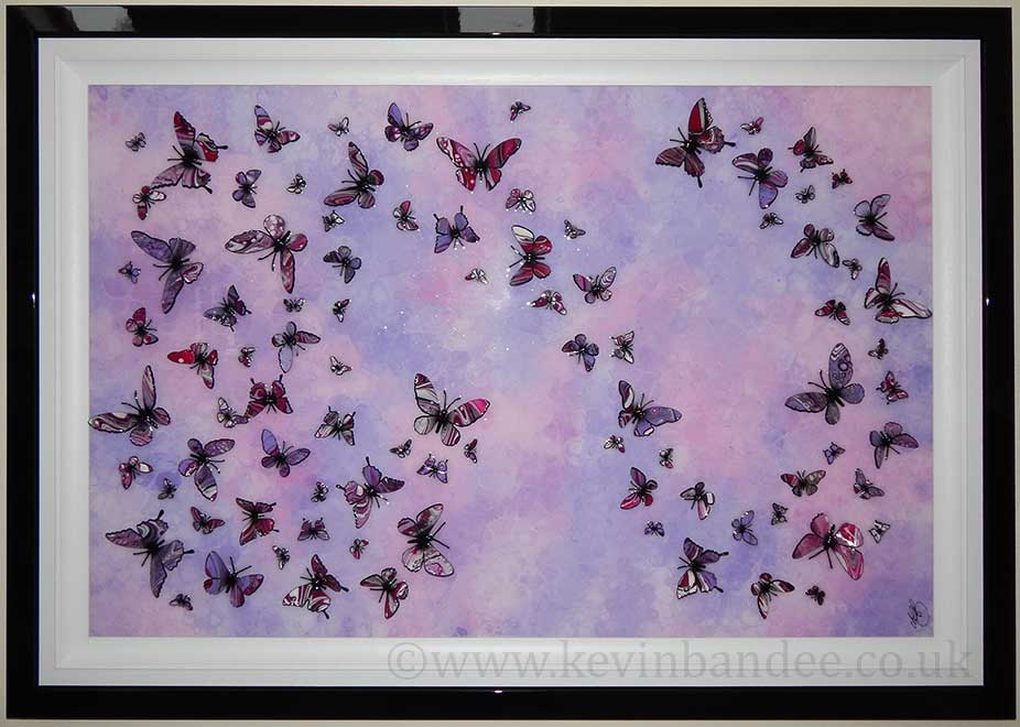 large lilac multi butterfly art