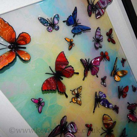 multicolour 3d butterfly close view