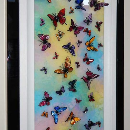 multicolour 3d butterfly side view 2