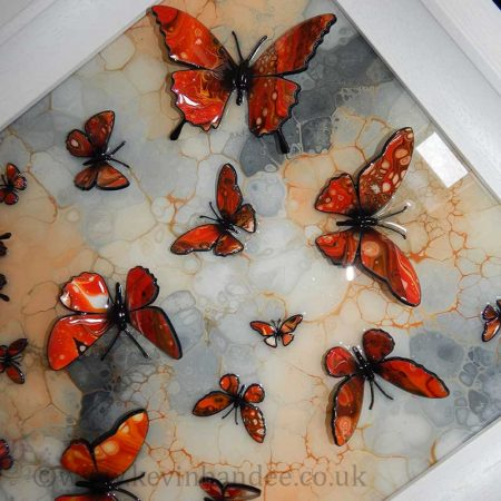 orange stone butterfly art