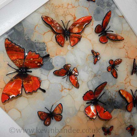 orange stone butterfly art close up 2