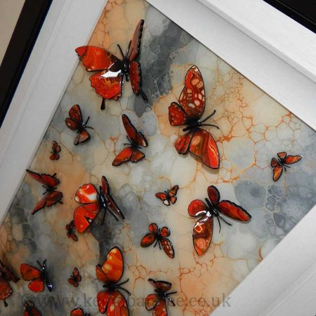 orange stone butterfly art close up